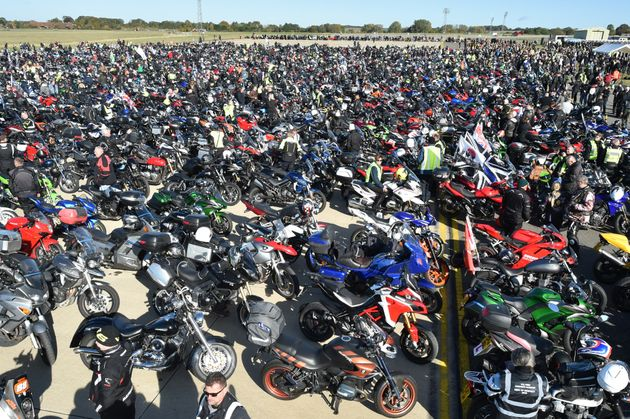 Bikers gather as thousands of motorcyclists take part in a 'ride of respect' in Oxfordshire in memory...