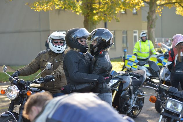 Lissie Harper (right), the widow of PC Andrew Harper led the procession of motorcycles taking part in...