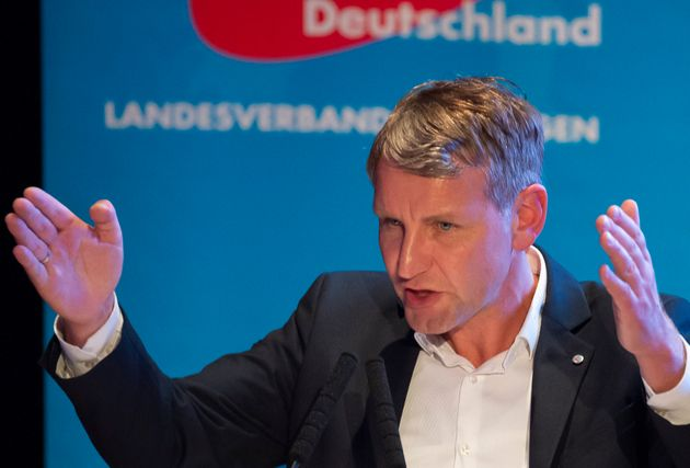 AfD Thuringia chairman Bjoern Hoecke gestures during his speech at the official beginning of the far-right...