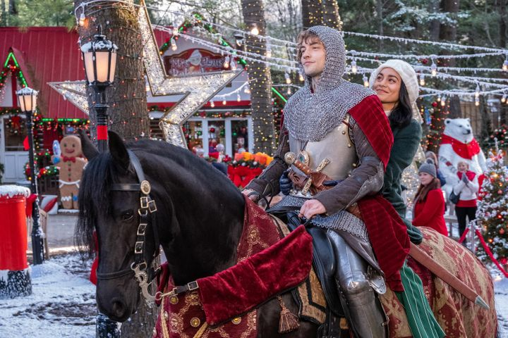 "Josh Whitehouse and Vanessa Hudgens in ""The Knight Before Christmas."""