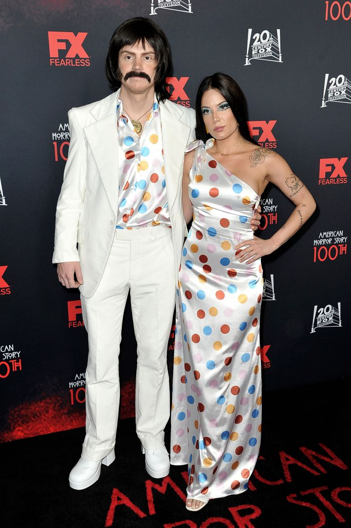 """Evan Peters and Halsey attend the 100th episode celebration of """"American Horror Story"""" on Saturday in Los Angeles."""