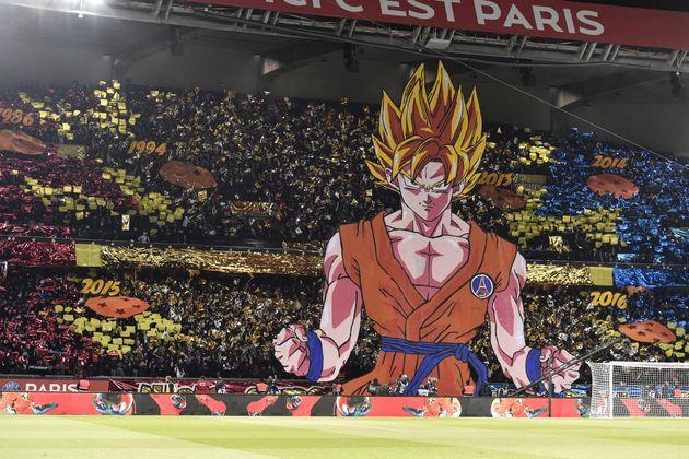 Les supporters du PSG avaient déployé un tifo représentant le personnage de Sangoku le 25 février 2018...