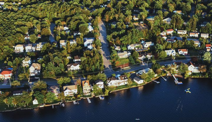 An aerial view of homes lining the shoreline of Lake Micmac in Dartmouth, N.S.