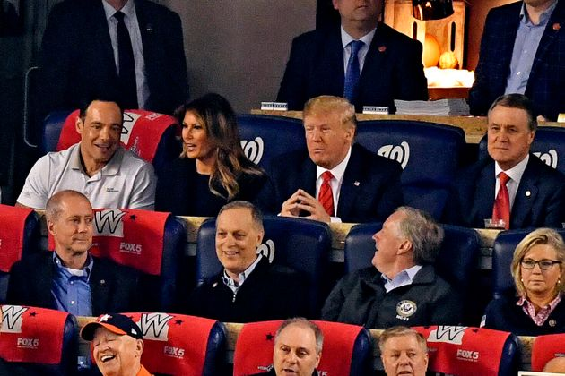 Oct 27, 2019; Washington, DC, USA; President Donald Trump and his wife Melania Trump watch game five...