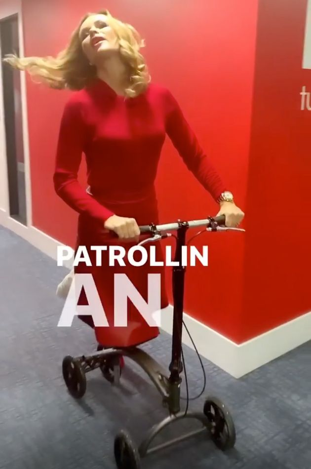 Amanda Holden Stages A Typically Dramatic Return To Work After Breaking Her Leg