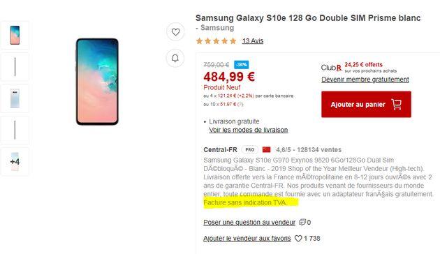 Le vendeur tiers eGlobal Central n'inclut pas la TVA de 20% dans son prix du Samsung Galaxy