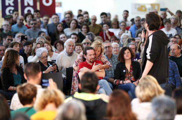 El candidato presidencial de Unidas Podemos Pablo Iglesias