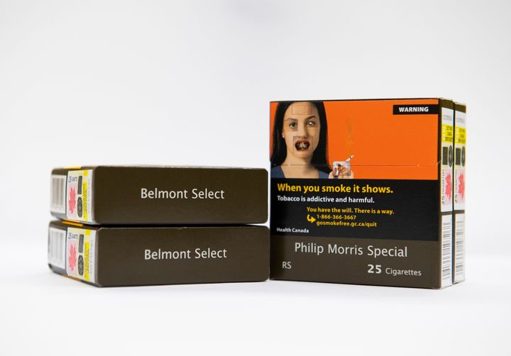 Here's a look at how cigarettes will be sold in Canada with plain packaging, as seen here in Ottawa on Oct. 17.