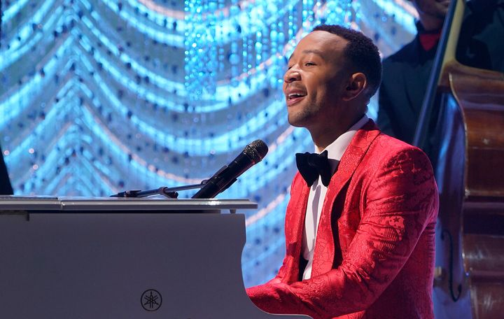 "John Legend sings during his 2018 Christmas special ""A Legendary Christmas with John & Chrissy."""