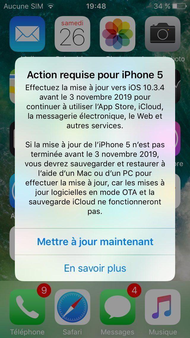 Les possesseurs d'anciens iPhone et iPad ont reçu une notification d'Apple les invitant à faire une mise à jour.