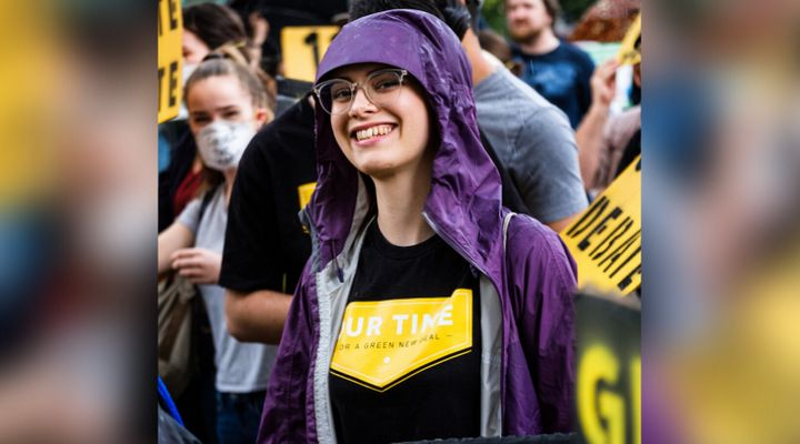 Alison McIntosh, an organizer with Climate Justice Edmonton, at a rally in July.