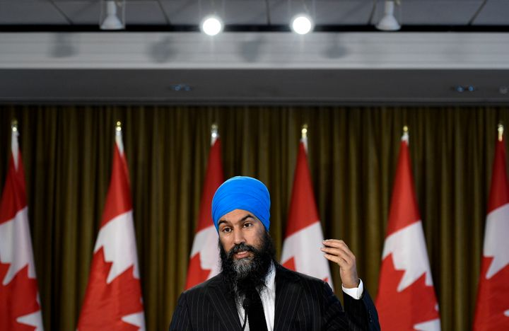 NDP Leader Jagmeet Singh speaks with reporters in Burnaby, B.C., Oct. 22, 2019, following the results of the 2019 federal election.