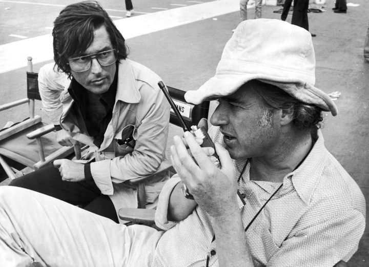 Producer Robert Evans (left) with director John Frankenheimer on the set of the film, 'Black Sunday', 1976. (Photo by Paramou
