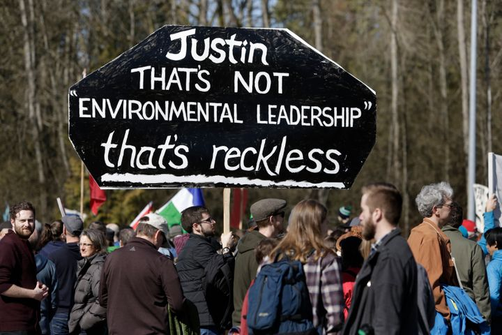 Coast Salish Water Protectors and others demonstrate against the expansion of the Trans Mountain pipeline project in Burnaby, B.C., March 10, 2018.
