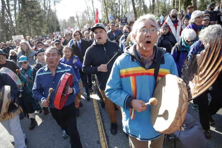 Indigenous leaders take part in a demonstration against the expansion of the Trans Mountain pipeline project in Burnaby, B.C., March 10, 2018.