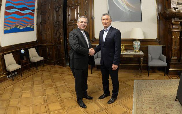Mauricio Macri y Alberto Fernández, esta mañana en la Casa Rosada, durante su primer encuentro...