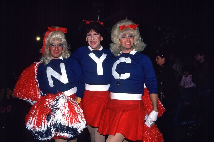 Cheerleaders in the Greenwich Village Halloween Parade in New York, 1985.