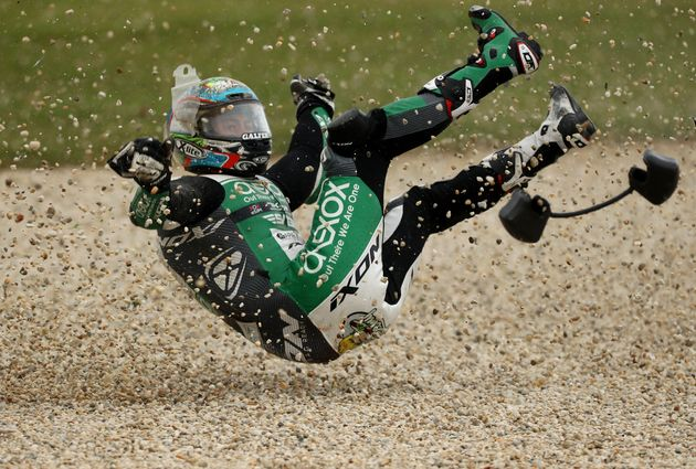 PHILLIP ISLAND, AUSTRALIA - OCTOBER 25: Remy Gardner of Australia and Onexox TKKR Sag Team crashes during...