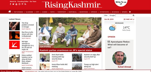 Screengrab of the website of The Rising Kashmir taken on October
