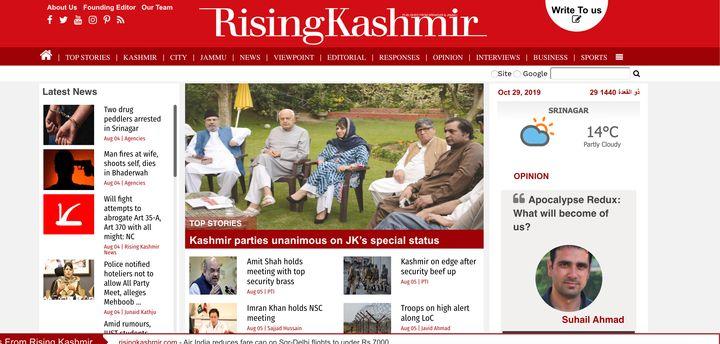 Screengrab of the website of The Rising Kashmir taken on October 29