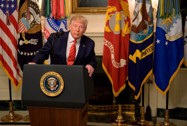 US President Donald Trump makes a major announcement October 27, 2019 the White House in Washington,...