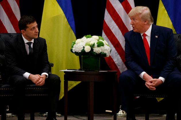 President Donald Trump meets with Ukrainian President Volodymyr Zelenskiy at the InterContinental Barclay...
