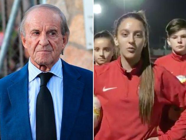 José María García y las jugadoras del Sporting de