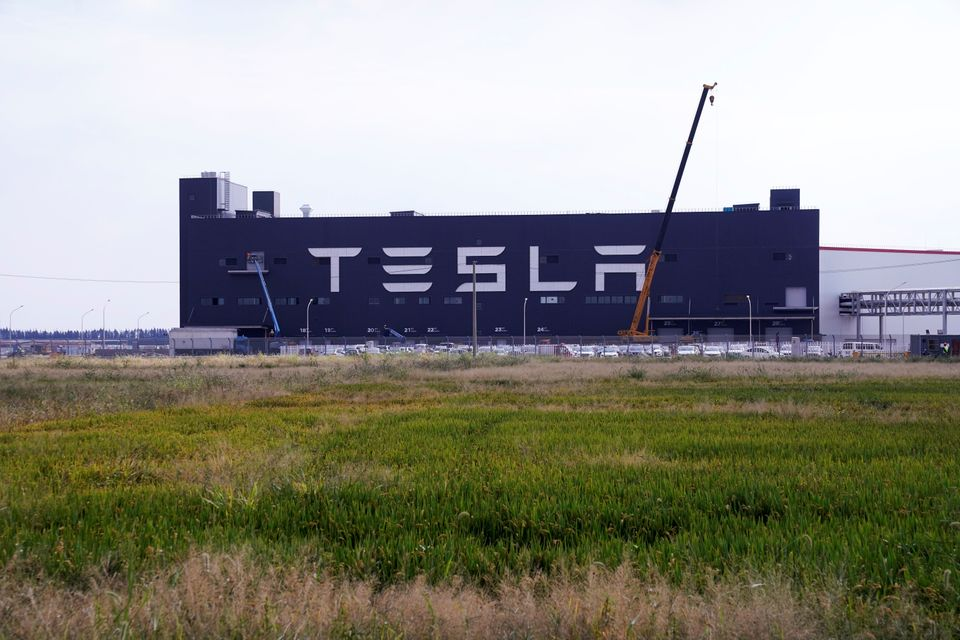 A gigafactory of electric carmaker Tesla Inc is seen in Shanghai, China October 18, 2019. REUTERS/Aly