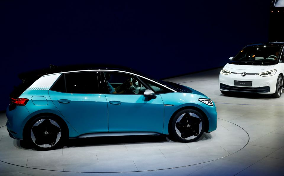ID.3 pre-production prototype cars are shown during the presentation of Volkswagen's new electric car...