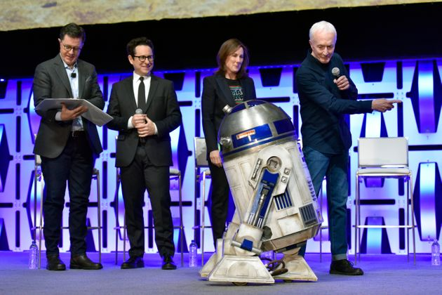 Kathleen Kennedy with R2-D2 at this year's Star Wars
