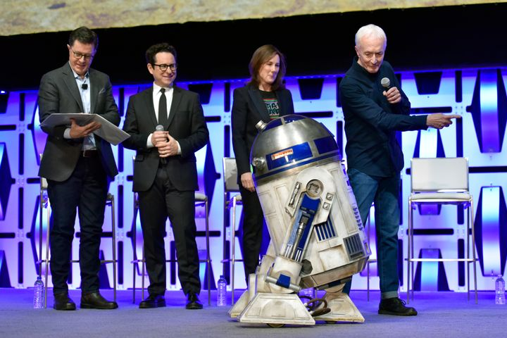 Kathleen Kennedy with R2-D2 at this year's Star Wars Celebration