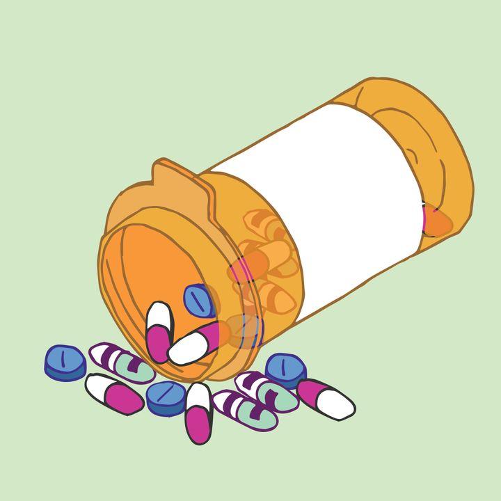 A bottle of pills.
