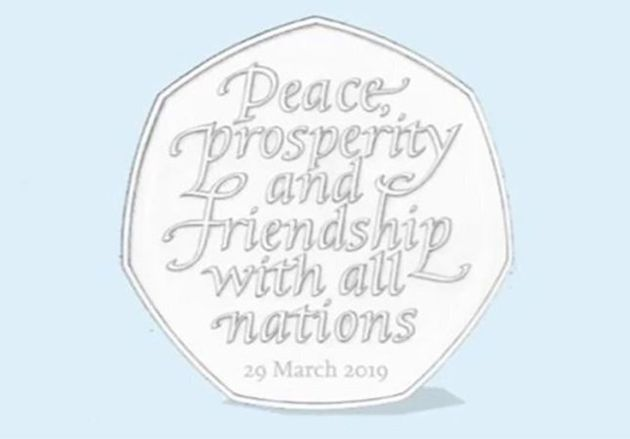 A mock of the new Brexit 50p, with the words 'peace, prosperity and friendship with all