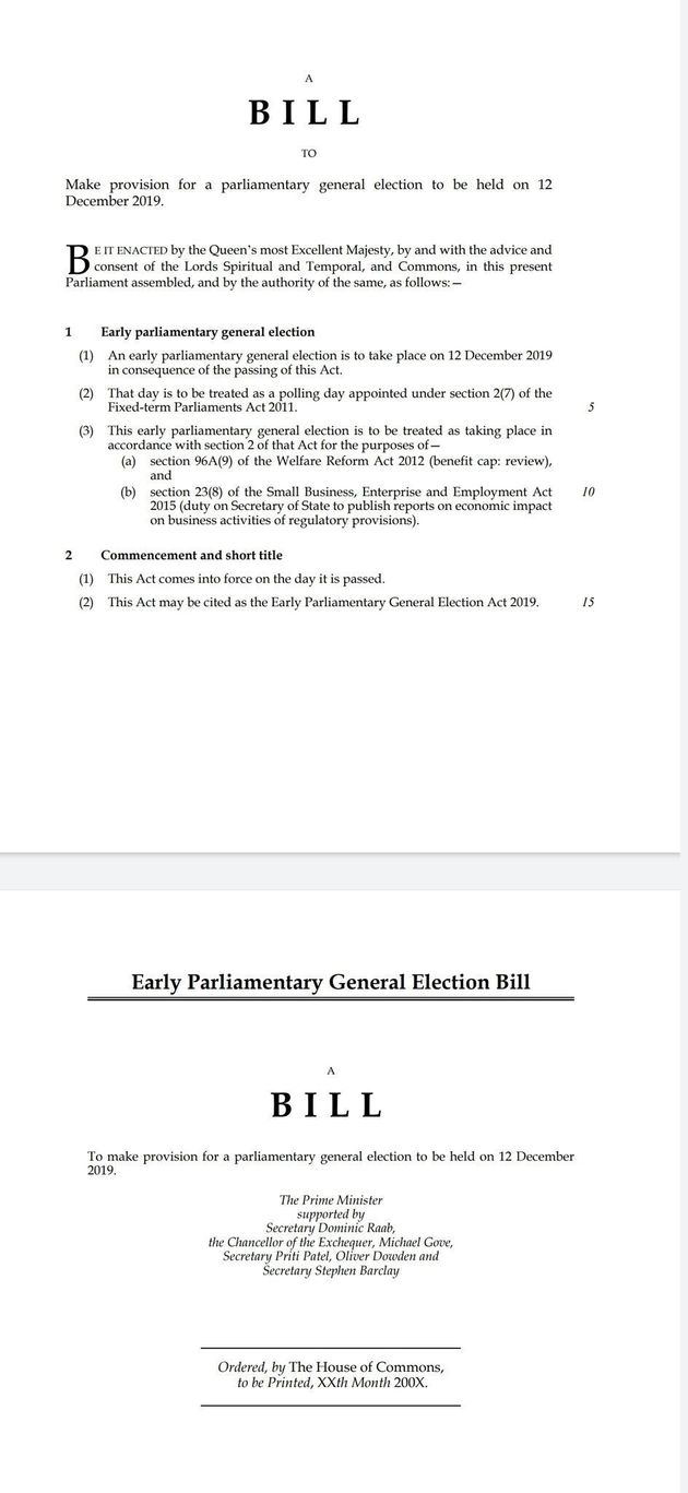 Here's a look Boris Johnson's early parliamentary general election bill.