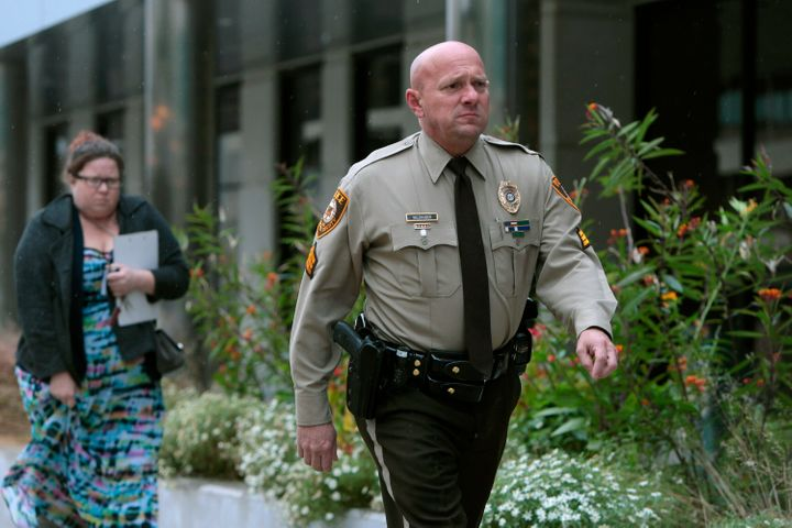St. Louis County police Sgt. Keith Wildhaber is seen during the trial of his discrimination case against the county in Clayto