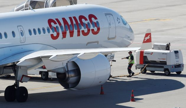 An Airbus A220 jet of Swiss Airlines is seen at Zurich airport in Zurich, Switzerland October 16, 2019....