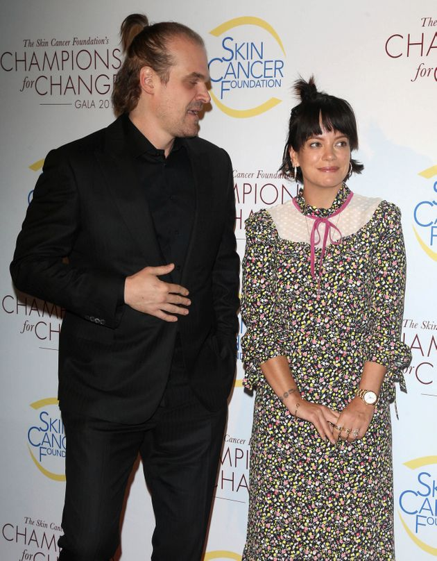 Lily Allen and David Harbour at the Champions for Change Gala in New York on Oct.