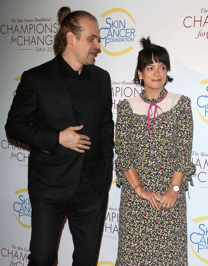 Lily Allen and David Harbour at the Champions for Change Gala in New York on Oct. 17.