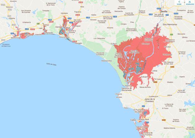 Mapa de localización de los principales puntos de riesgo en la costa suroeste de