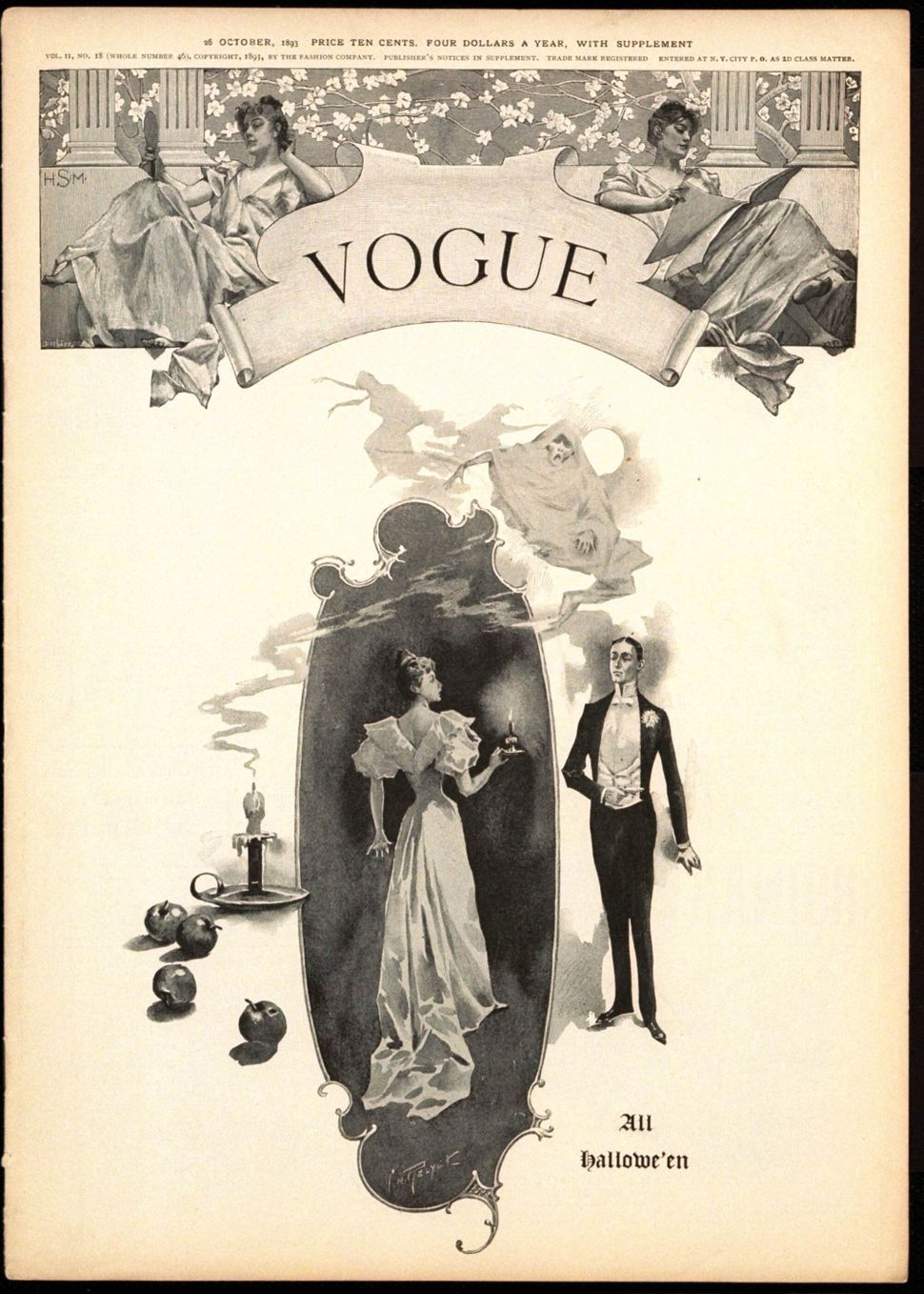 A Halloween-themed Vogue cover from 1893 shows the kind of glamorous costumes women from that era might have chosen.