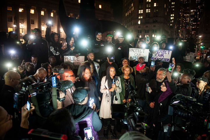 Tamika Mallory, center, speaks during a National Day of Outrage protest in Foley Square.