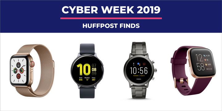 """This <a href=""""https://www.huffpost.com/entertainment/topic/black-friday"""" target=""""_blank"""" rel=""""noopener noreferrer"""">Black Friday</a> and <a href=""""https://www.huffpost.com/entertainment/topic/cyber-monday"""" target=""""_blank"""" rel=""""noopener noreferrer"""">Cyber Monday</a> we&rsquo;ve spotted deals from brands like Apple, Samsung, Fitbit, Fossil and Garmin.&nbsp;"""