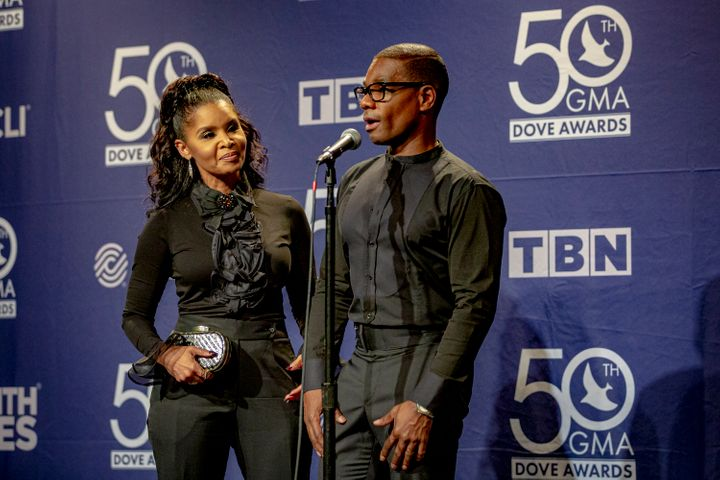 Kirk Franklin, winner of Contemporary Gospel Recorded Song of the Year, answers questions at the 50th Annual GMA Dove Awards