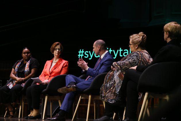 Jennah Dungay, Julia Gillard, Martin Cohen, Magda Szubanski and Julie Millard take part in a panel discussion...