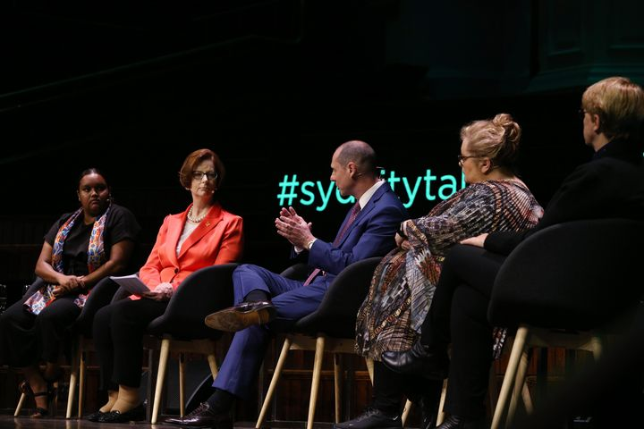 Jennah Dungay, Julia Gillard, Martin Cohen, Magda Szubanski and Julie Millard take part in a panel discussion during the City of Sydney CityTalks event at Sydney Town Hall.