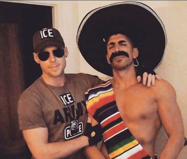 A screenshot of a since-deleted Instagram post showing a Toronto couple dressed as an ICE officer and Mexican.