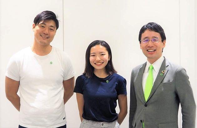 左から永田暁彦代表取締役副社長、小澤杏子CFO(最高未来責任者)、出雲充代表取締役社長