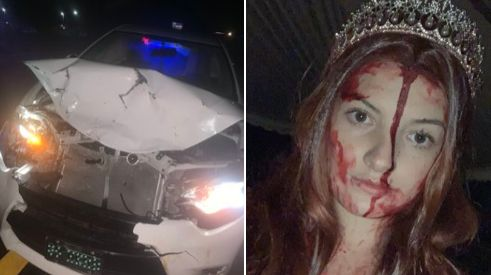 """Sidney Wolfe crashed her car while wearing a costume to promote """"Carrie The Musical."""""""