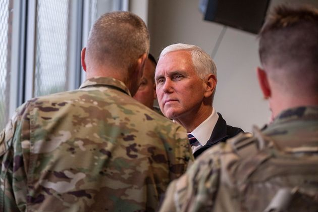 Vice President Mike Pence observes Abrams A1 live fire training on Fort Hood, Texas on Tuesday, Oct....