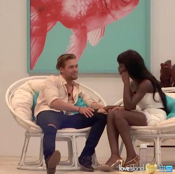 Love Island contestants Aaron Shaw and Cynthia Taylu.